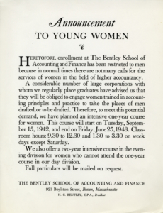 1942 announcement of female admission.