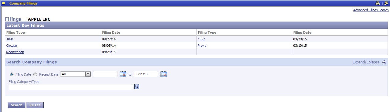Click to view screenshot of Thomson ONE latest filings for Apple, Inc.