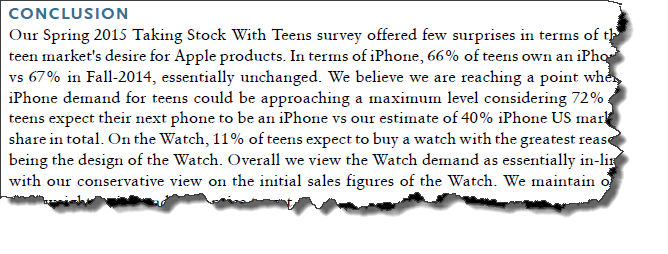 Click to view screenshot of a snippet of a Piper Jaffray report for Apple, Inc.