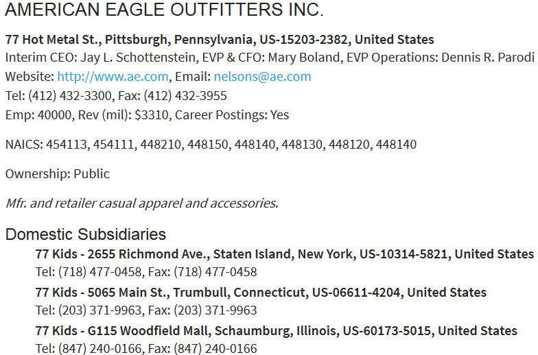 Directory information for American Eagle Outfitters, Inc.
