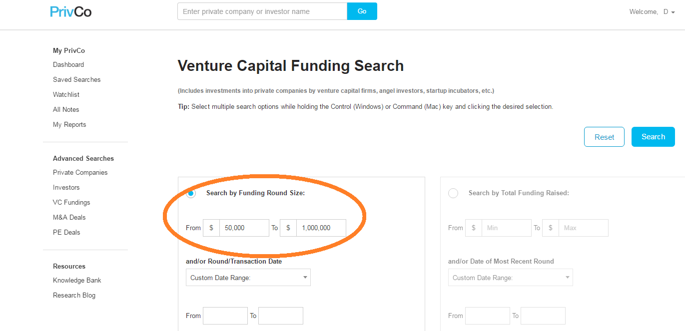 PrivCo search screen - funding parameters